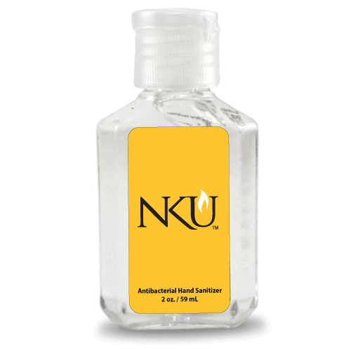 A 2oz bottle of hand sanitizer with NKU's logo on the front.