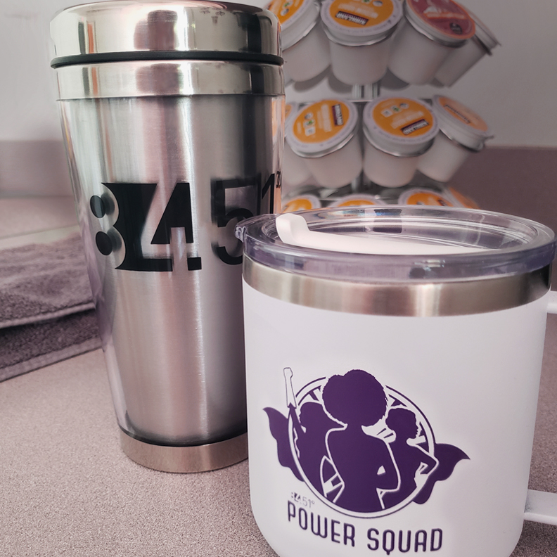 84.51 coffee thermos and Power Squad cup.