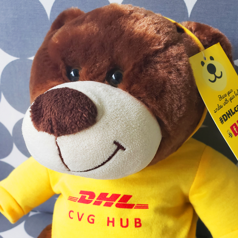 A Teddy Bear wears a yellow hoodie with the DHL logo on the front.