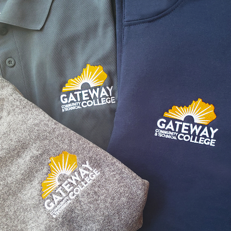 Gateway College shirts and polos.