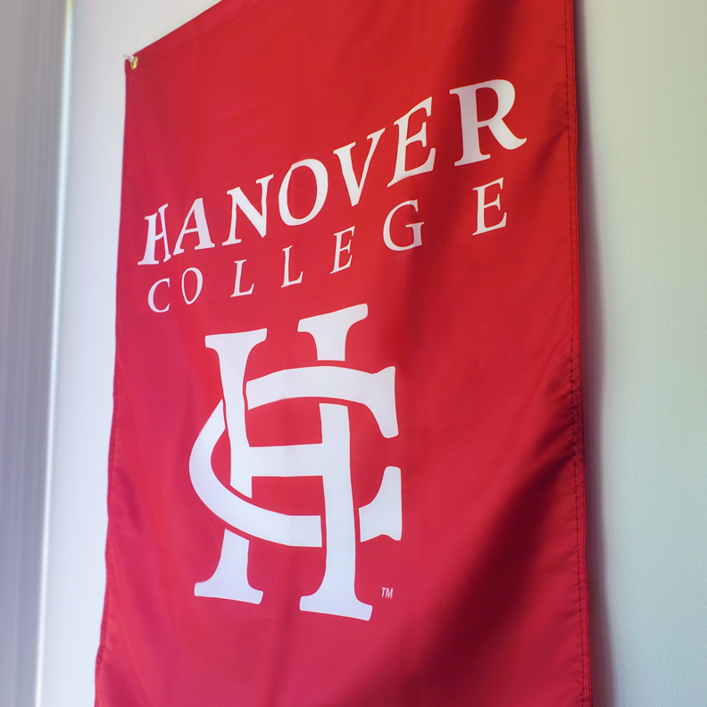 A red banner with the Hanover College logo on it.